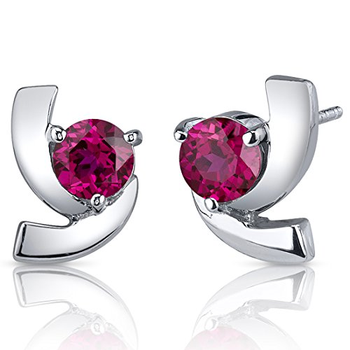 Created Gold Solitaire Ruby (Created Ruby Earrings Sterling Silver Round Cut 2.50 Carats)