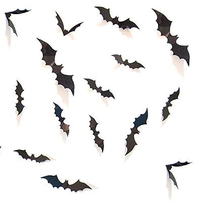 DIY Halloween Party Supplies PVC 3D Decorative Scary Bats Wall Decal Wall Sticker, Halloween Eve Decor Home Window Decoration Set, 28pcs, Black from HOZZQ
