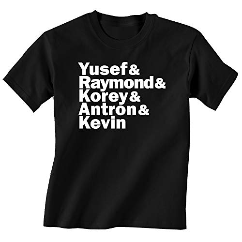 FerociTees Youth Central Park Five Names 5 T-Shirt Medium Black