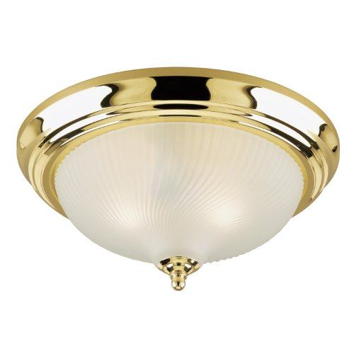 Westinghouse 6430200 Two-Light Flush-Mount Interior Ceiling Fixture, Polished Brass Finish with Frosted Swirl Glass (Brass Ceiling Flush Mount)