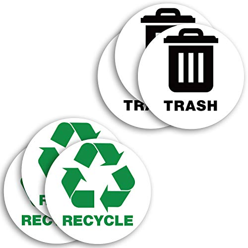 Recycle Sticker for Trash Can Bins, Sign Decal - 6 Pack 5 in - Premium Self-Adhesive Vinyl, Laminated for Weatherproof, UV Resistant, Encourage Recycling, Indoor and Outdoor.
