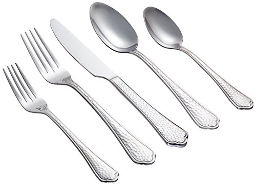 Farberware 20-Piece Pepper Mirror/Hammered Flatware Set, Service for 4