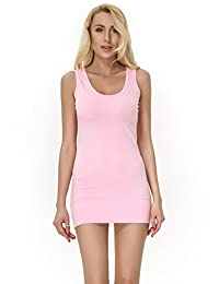 Moxeay Womens Extra Long Stretch Cotton Tank Top