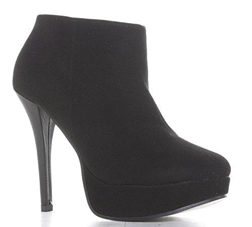 Heel Black Size High Stiletto Boots 3 Suede Ankle Platform 8 Ladies Shoe Womens XH6wqOHBx