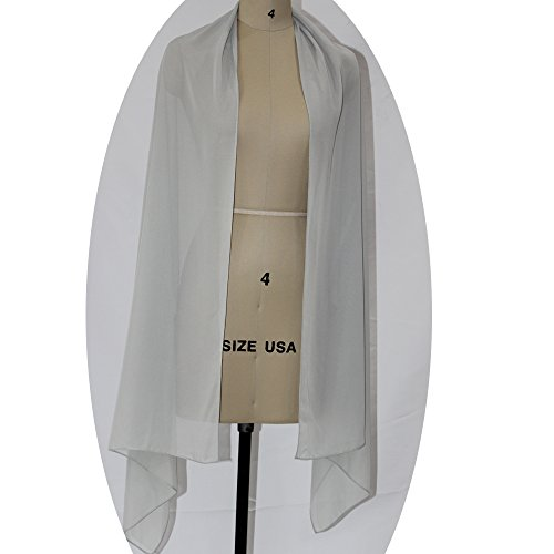 Lanbaodress Wedding Jacket Wraps Bolero Chiffon Women Cap Wrap Shrug For Evening Dresses Silver