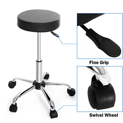 Kemanner 360-Degree Rolling Stool Adjustable Hydraulic Swivel Bar Stool with Wheels for Massage/Medical/Salon/Office/Tattoo by Kemanner (Image #4)