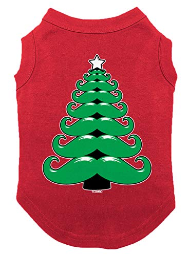 Mustache Christmas Tree Dog Shirt (Red, X-Large)