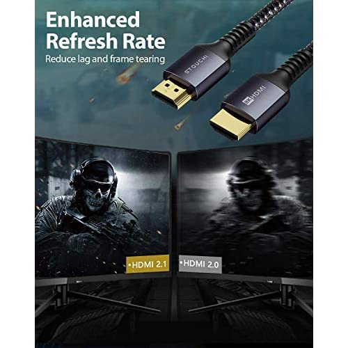 8K HDMI 2.1 Cable 6ft, Stouchi Ultra HD 48Gbps High Speed 8K60 4K120 144Hz RTX 3080 eARC HDR10 4:4:4 HDCP 2.2&2.3 Dolby Compatible with Fire TV/Roku TV/Playstation 5/PS5/Xbox Series X/Samsung/Sony/LG