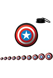 "3/4"" (19mm) Acrylic Captain America Shield Screw Fit Plug Pair"