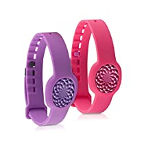 kwmobile 2in1 set: 2x sport spare bracelet for Jawbone UP Move in dark pink violet Inner dimensions: approx. 15,5 - 23 cm - silicone bracelet with closure without tracker