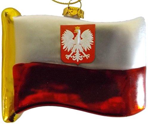 (Polish Flag of Poland Eagle Crest Blown Glass Christmas Tree Ornament)