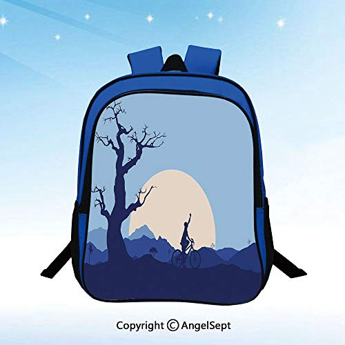 School Backpacks For Girls Boys Rising Moon in Abandoned Forest with Trees and a Boy Cycling Bike Image Kids Elementary School Bags Bookbag Blue and White