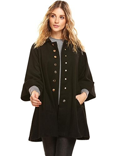 Corgy Women Turn Down Collar 3/4 Flare Sleeve Button-Down Swing (Cashmere Wool 3/4 Coat)
