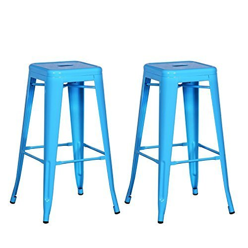 Metal Chair Pastel (Adeco NEW 30-inch Metal Tolix Style Industrial Chic Chair Counter Stool Barstool, Set of Two (Pastel Blue))
