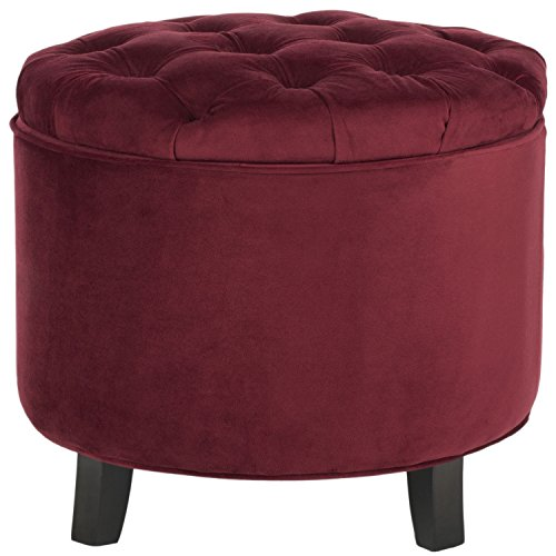 (Safavieh Hudson Collection Amelia Tufted Storage Ottoman, Red)
