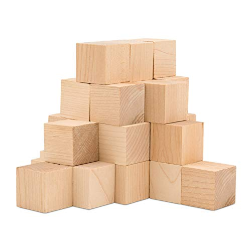 Wooden Cubes - 1-1/2 Inch - Wood Square Blocks for Photo Blocks, Crafts & DIY Projects (1-1/2