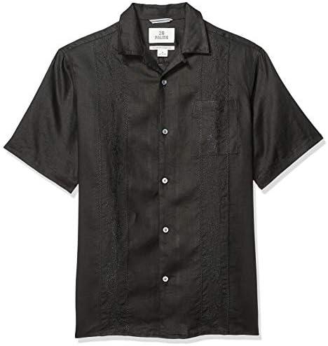 28 Palms lino 100 /% para hombre corte holgado plisada Camisa guayabera de 4 bolsillos Marca de manga corta