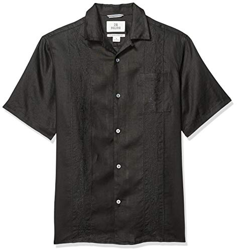 (28 Palms Men's Relaxed-Fit Short-Sleeve 100% Linen Embroidered Guayabera Shirt, Black, Large)
