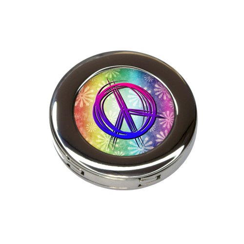 Hippie Peace Signs and Flowers Foldable Purse Handbag Hook Hanger Holder by Made on Terra (Image #2)
