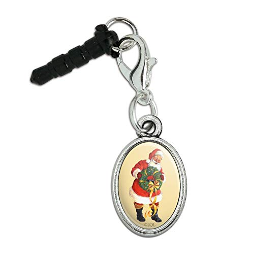GRAPHICS & MORE Christmas Holiday Santa Holding Wreath Mobile Cell Phone Headphone Jack Anti-Dust Oval Charm fits iPhone iPod Galaxy