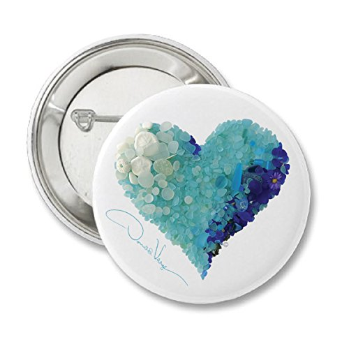 Love - Aqua Sea Glass Heart Button. 2.25 in. Matte Finish. Unique Collectible Pins. Great for College, Peace, Birthday, Christmas, Mother's Day & Valentines Gifts for Women, Men & Kids. (Photo Pins Buttons)