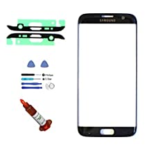 (md0410) Black Front Outer Lens Glass Screen Replacement For Samsung Galaxy S7 EDGE G935 + Adhesive + Tools + 5ml UV LOCA Liquid Glue (LCD and Digitizer not included)