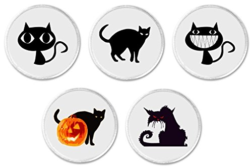 Set 5 Halloween Black Kitty Cats 3
