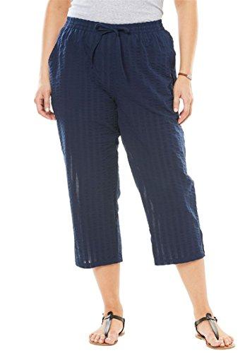 Woman Within Plus Size Petite Seersucker Capri Pants - Navy, 20 W (Petite Seersucker)