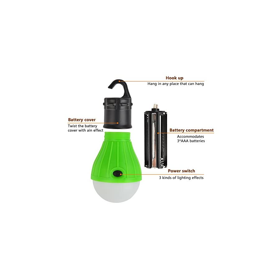 ATPWONZ Camping Light [2 Pack] Portable LED Tent Light 3 Modes Brightness Waterproof Hanging Lamp for Camping, Hiking, Mounting, Backpacking & Emergency