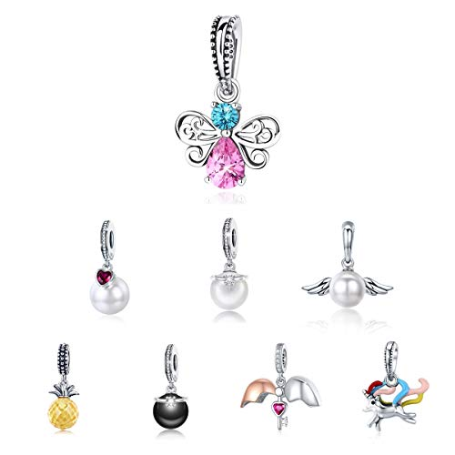 BAMOER 925 Sterling Silver Butterfly Charms Pendant with Sparkling Cubic Zirconia for Women Girls Cute Animal Jewelry