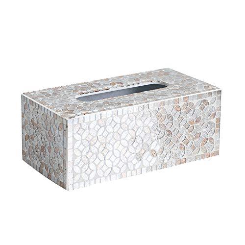 Mosaic Tissue - Whole Housewares Decorative Mosaic Tissue Holder 10X5X4 Inch Rectangular MDF Tissue Box Cover (Gold/Silver)