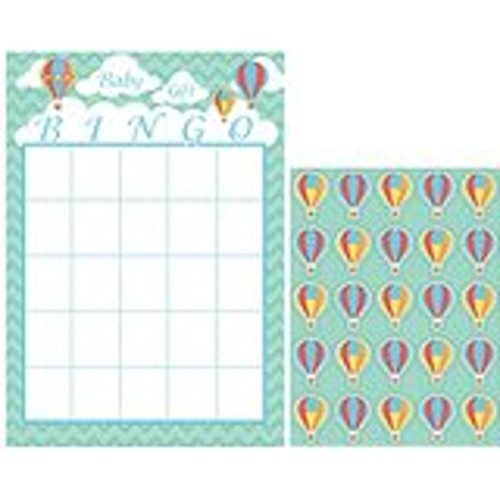 Club Pack of 60 Up, Up and Away Mint Green and Coral Baby Shower Bingo Game by Party Central