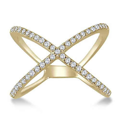 AGS Certified 1/2 Carat TW Diamond Criss Cross X Ring in 10K Yellow Gold (K-L Color, I2-I3 Clarity) (1/2 Ct Tw Diamond Cross)