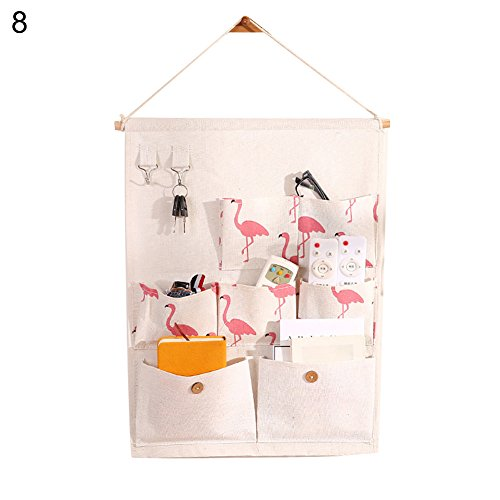 angel3292 Hot sale 7 Pockets Cute Flamingo Polka Dots Pattern Door Wall Hanging Storage Pouch Bag (1 Bedroom 1 Bath Homes For Sale)