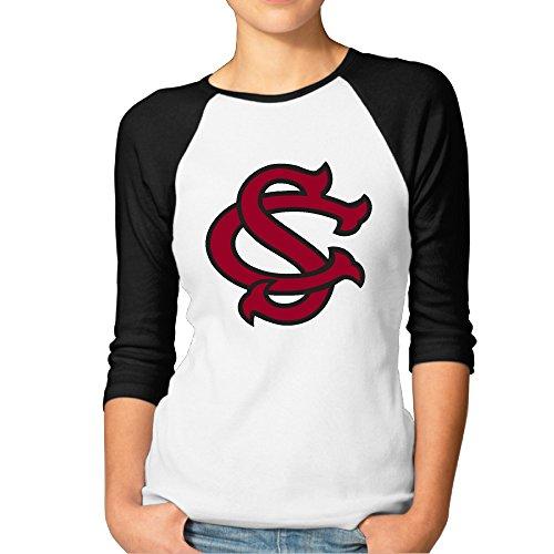 (GUC Women's 3/4 Sleeve Tee - University South Carolina Baseball Logo Black S)