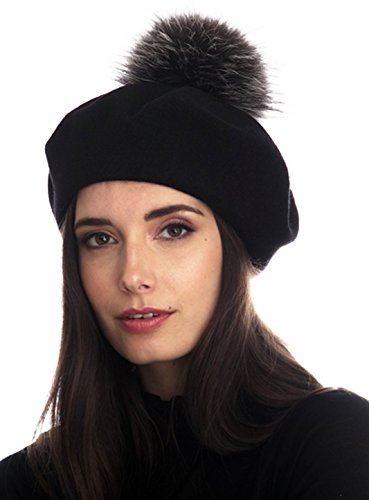 Wool Beret Fur Pom (Black)