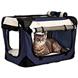 "Soothing ""Happy Cat"" Med-Large Soft Sided Cat Carrier & Travel Crate, Comfy Plush Sleep Pillow 4X Interior Space Airy Windows, Sunroof, Collapses, Folds, Lightweight Stylish, Washable, Reduces Anxiety"
