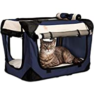 PetLuv Happy Cat Premium Soft Sided Foldable Top & Side Loading Pet Carrier & Travel Crate - Locking Zippers Shoulder Carry Straps Seat Belt Lock Nap Pillow Reduces Anxiety