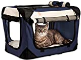 PetLuv Happy Pet Cat & Dog Crate & Carrier Premium Soft Sided Foldable Top & Side Loading Pet Carrier Locking Zippers Shoulder Straps Seat Belt Lock Nap Pillow Reduces Anxiety
