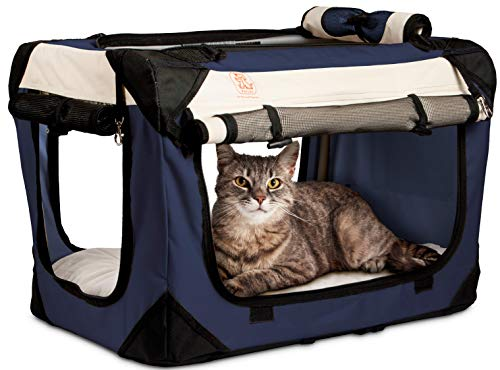 PetLuv Happy Cat Premium Soft Sided Foldable Top & Side Loading Pet Carrier & Travel Crate - Locking Zippers Shoulder Carry Straps Seat Belt Lock Plush Nap Pillow Airy Windows Sunroof Reduces Anxiety