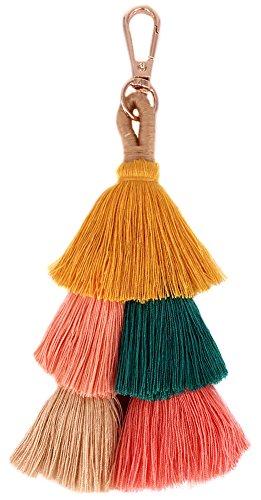 QTMY Big Pom Pom Tassel Bag Pendant Charm Keyring Keychain for Women Purse Handbag Decor
