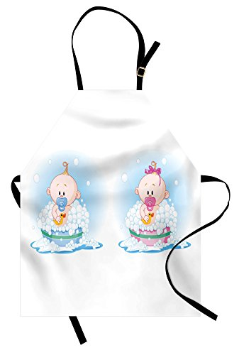 (Ambesonne Gender Reveal Apron, Cute Girl and Boy Babies in Bath with Bubbles Duck Toddler Picture Print, Unisex Kitchen Bib Apron with Adjustable Neck for Cooking Baking Gardening, Multicolor)