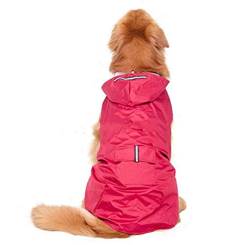 Elite Fashion Nylon Waterproof Fabric Hooded Dog Raincoat, Suit for Small Medium Large Dogs, Red