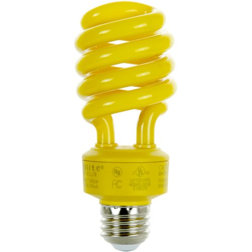 Compact Fluorescent Bug - Sunlite SL24/Y 24 Watt Spiral Energy Saving Compact Fluorescent CFL Light Bulb (100-Watt Incandescent Equivalent) Medium Base Yellow (Bug Light)