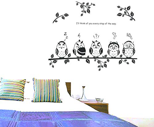 Cartoon Owl Family Standing On The Tree Nursery Room, Bedroom, Living Room Wall Decal Sticker