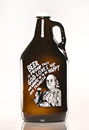New Benjamin Franklin Growler, 64 oz., Screw Top, Amber Colored