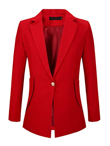 Red Wool Blazer Jacket - SHUIANGRAN Women's Fashion Suits Work Blazers Office Jacket Lightweight for Women and Juniors Red US 10 (tag Asian 3XL)