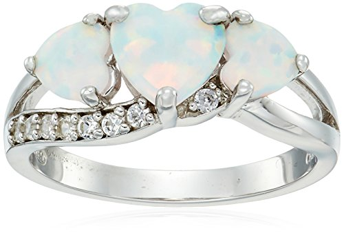(Sterling Silver 3 Stone Created Opal and Created White Sapphire Ring, Size 7)