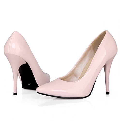 LongFengMa Women Stiletto Pumps Patent Solid Wedding Party High Heel Shoes Pointed Toe Heels Pink TNezg