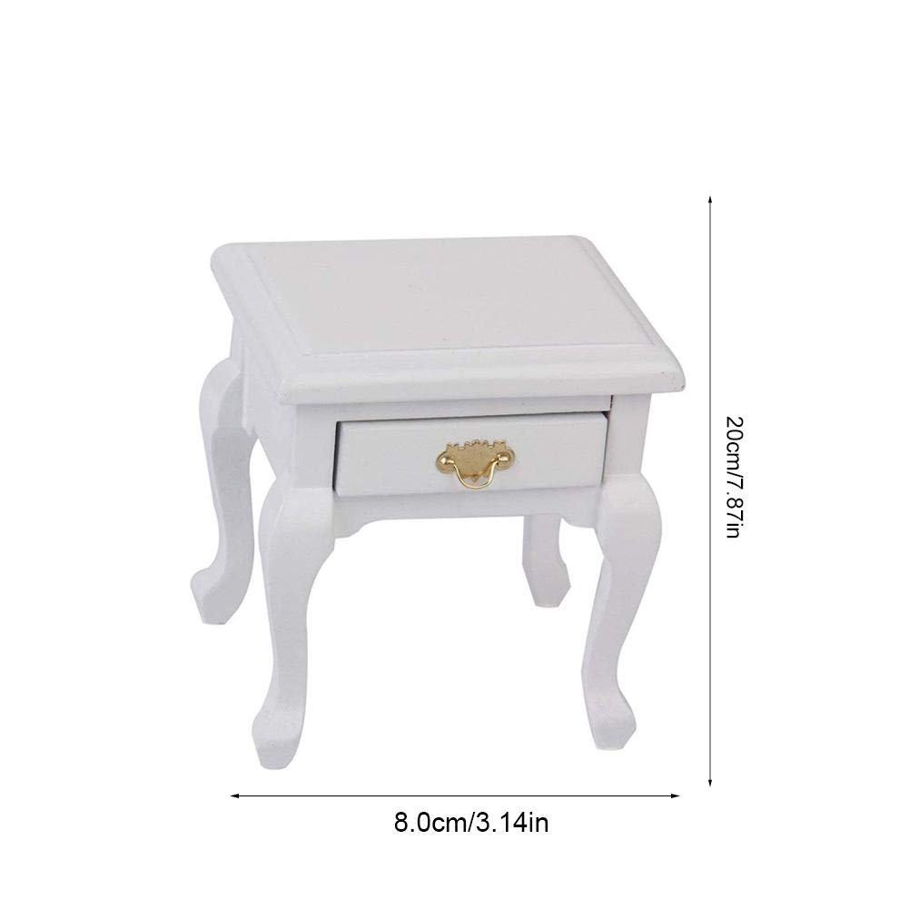 1:12 Dollhouse Miniature Doll Furniture Wooden White Bedside Cabinet Bed Table